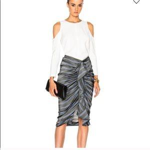 Veronica Beard Striped Silk Ruffle Midi Skirt